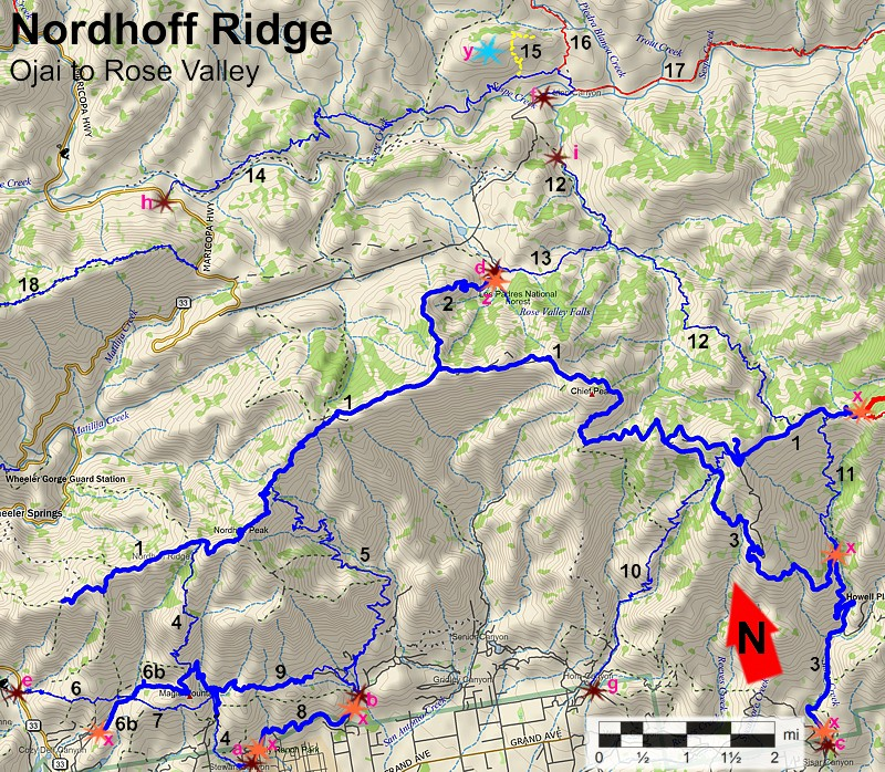 Nordhoff Ridge and Rose Valley area north of Ojai Trail Map