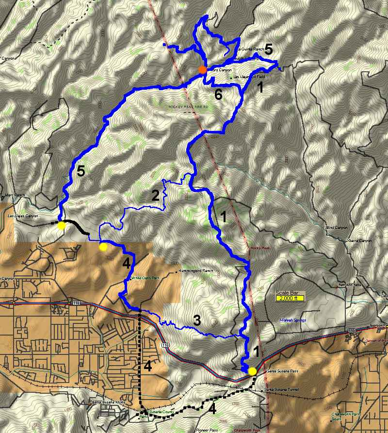 Rocky Peak Area in Simi Valley Trail Map and Descriptions